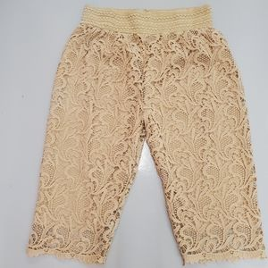 Today's Designer   Embroidered Nude Capris